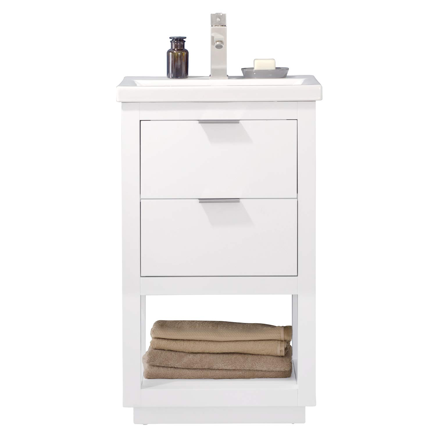 "Luca Kitchen & Bath LC20GWP Sydney 20"" Bathroom Vanity Set in White Made with Hardwood and Integrated Porcelain Top"