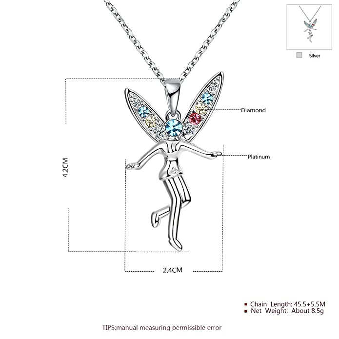 06bcc8bf26718 Amazon.com  Mall of Style Fairy Necklace for Girls Women - Silver Pendant  (Fairy)  Jewelry