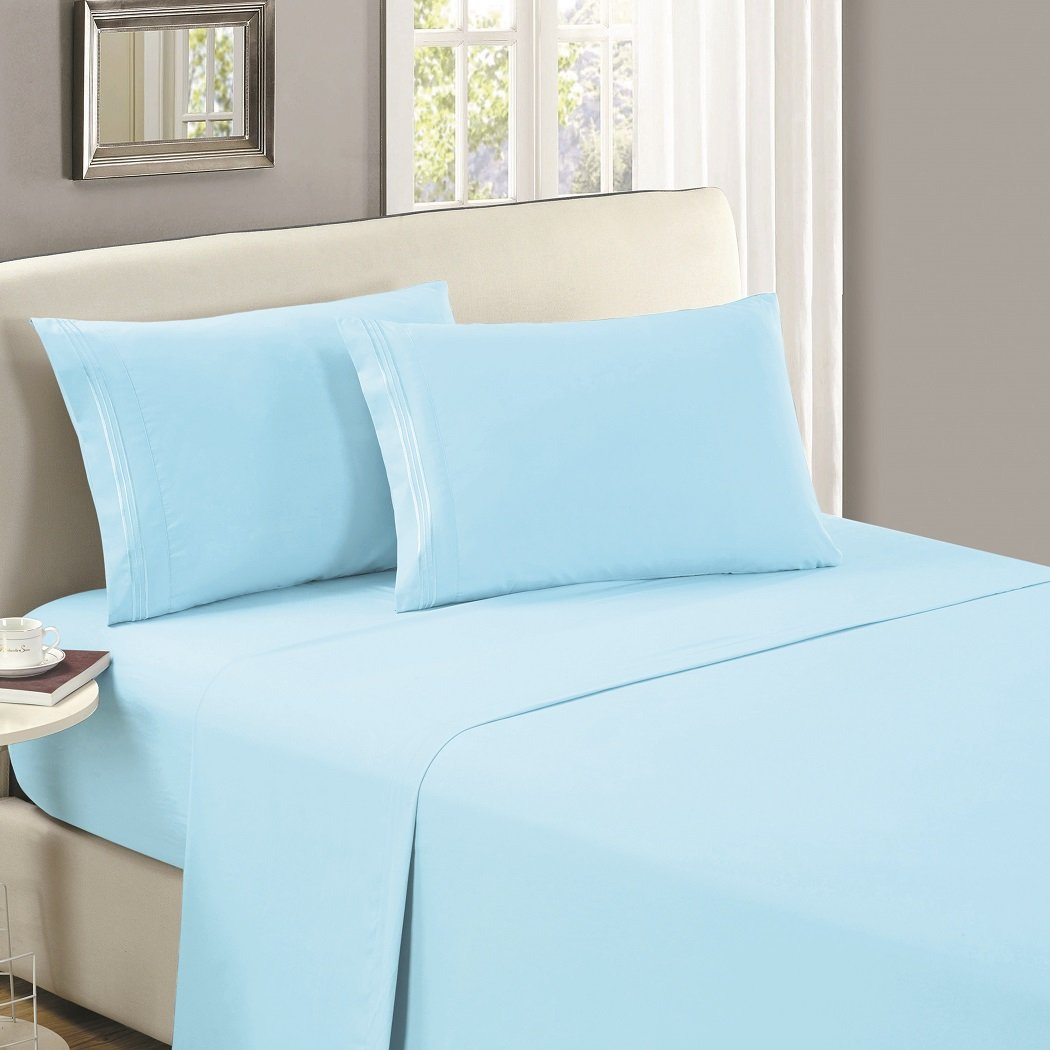 Mellanni Flat Sheet King Baby-Blue - HIGHEST QUALITY Brushed Microfiber 1800 Bedding Top Sheet King, Baby Blue