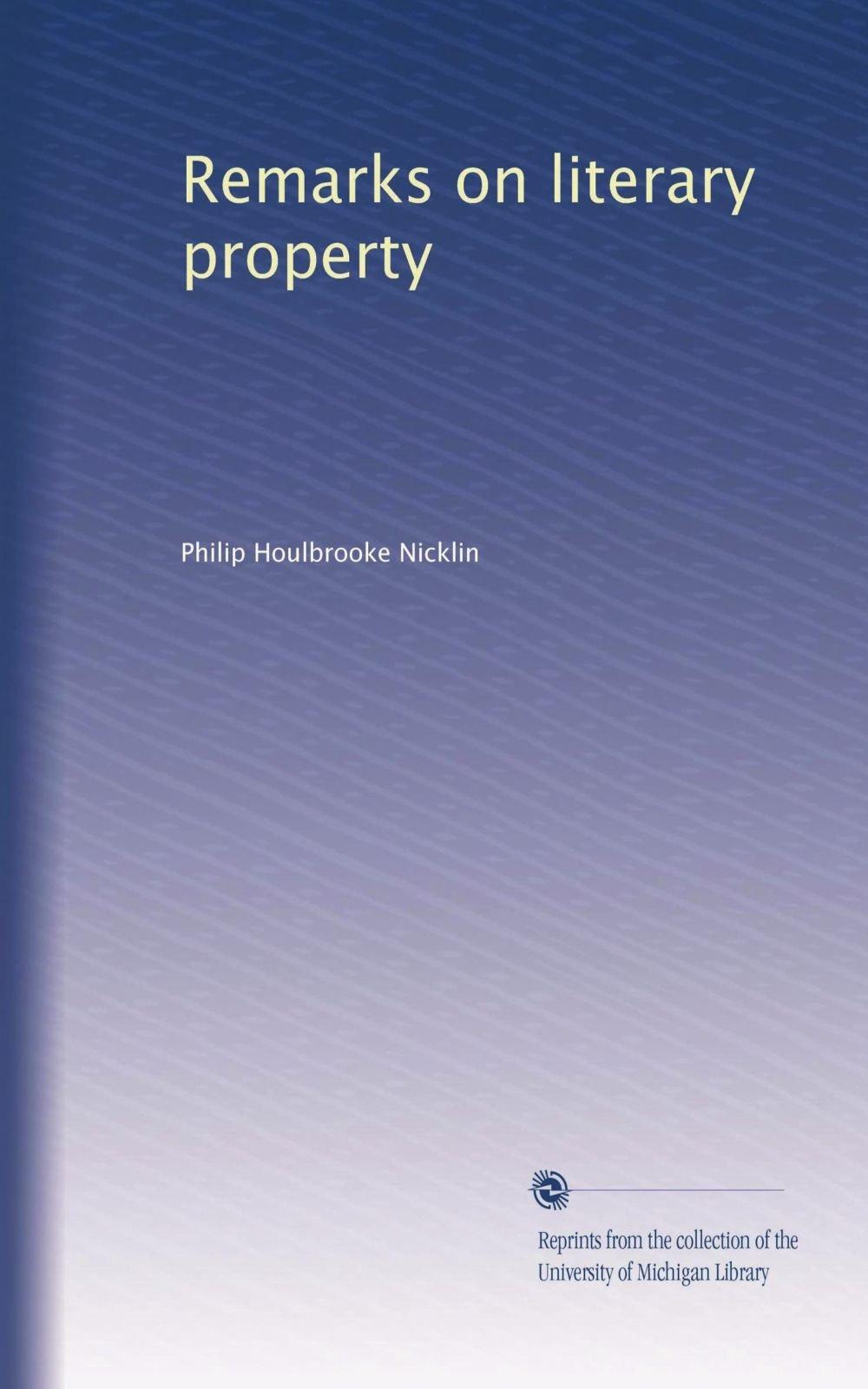 Remarks on literary property pdf epub
