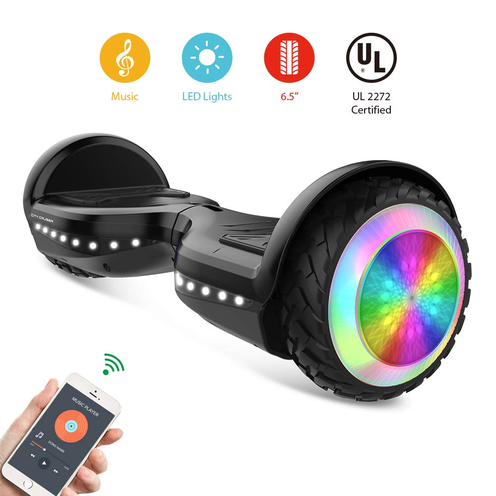 CITY CRUISER Hoverboard with Bluetooth Speaker, LED Light by UL 2272 Certified Best Gift for Kids Black