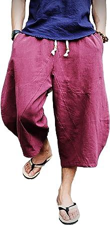 TALLA 32. EKLENTSON Pantalones cortos de retazos para hombre, holgados, pantalones capri holgados, de lino, casual, con bolsillos