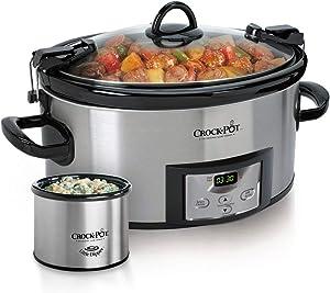 Crock-pot SCCPVL619-S-A 6-Quart Metallic Cooker with Hinged Lid, Black (Renewed)