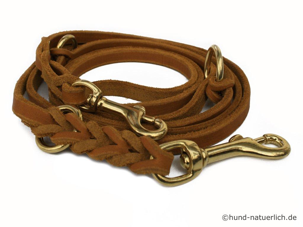 Messing Fettlederleine braun hund-natuerlich Lederleine 3-Fach verstellbar Cognac Hellbraun Hundeleine aus Leder