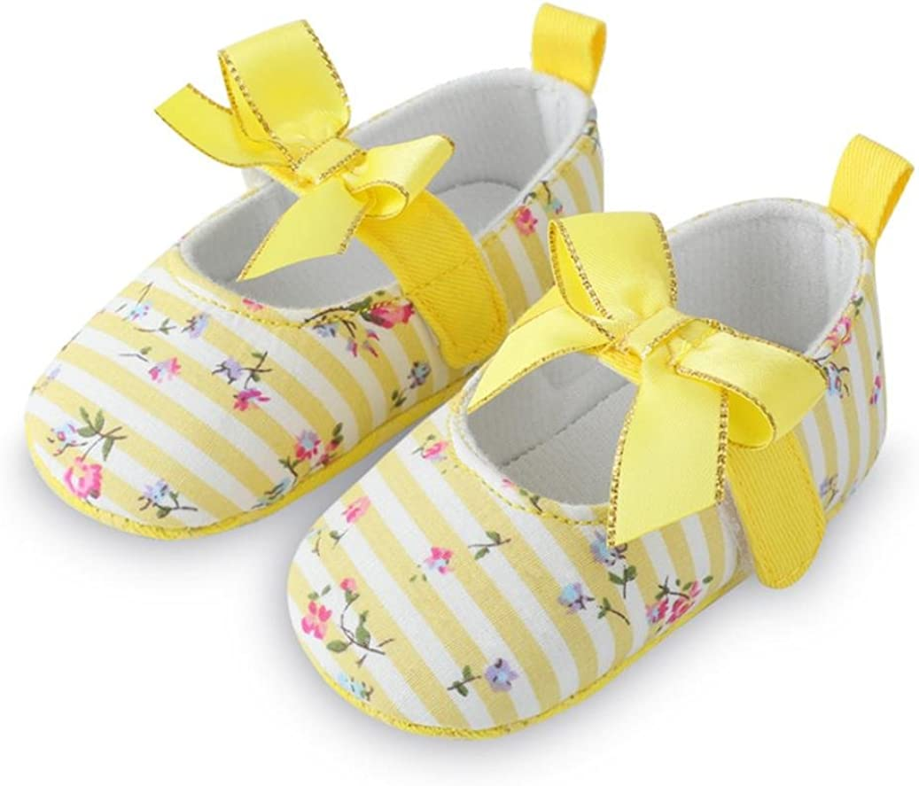 WARMSHOP Baby Girls Bow Flower Print Crib Shoes Soft Sole Striped Cotton Toddler First Walker Moccasin Single Shoes
