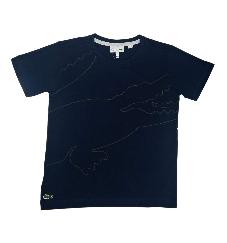 Lacoste BOY Big Croc Shape Along The Body T-Shirt, Navy Blue/Graphite/Black/Silver Chine, 16YR