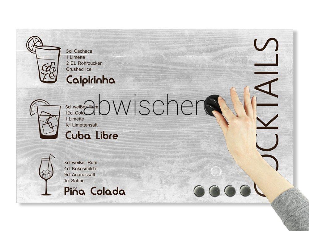 Magnettafel Glas Querformat // 50x30cm // 501696/_50x30/_GL/_MT Glasmagnettafel Cocktails Magnetwand K/üche Grau GRAZDesign Notiztafel K/üche Bar