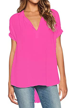 Alegouz Women Casual Chiffon Blouse V Neck Short/Long Sleeve Top Shirts, US(18-20)XXL, Rose 1