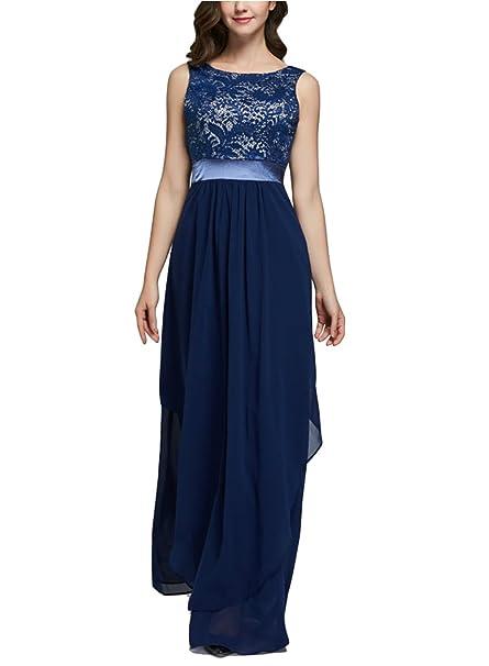 6b1acad7b Oudan Vestidos Largos sin Mangas para Mujer Ceremonia sin Mangas Elegante  Vestido de Noche Chiffon Banquete de Encaje  Amazon.es  Ropa y accesorios