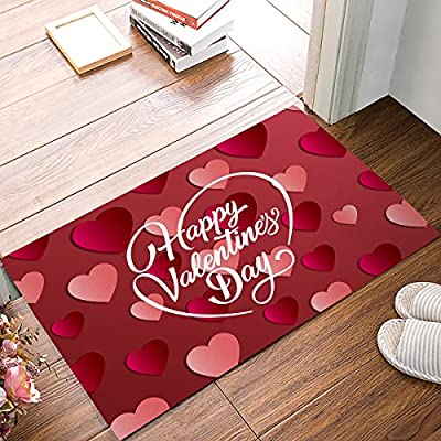 Family Decor Happy Valentine's Day with Heart Shaped Pattern Door Mat Rug Indoor/Front Door/Shower Bathroom Entrance Mats Rugs Doormat, Non-Slip Doormats