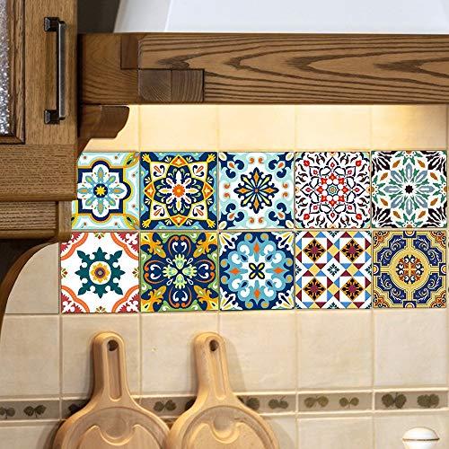 BQMB 10 Piezas de Cocina Azulejo de la Etiqueta Engrosada película de la Perla del baño Cocina Impermeable Europeo Retro...