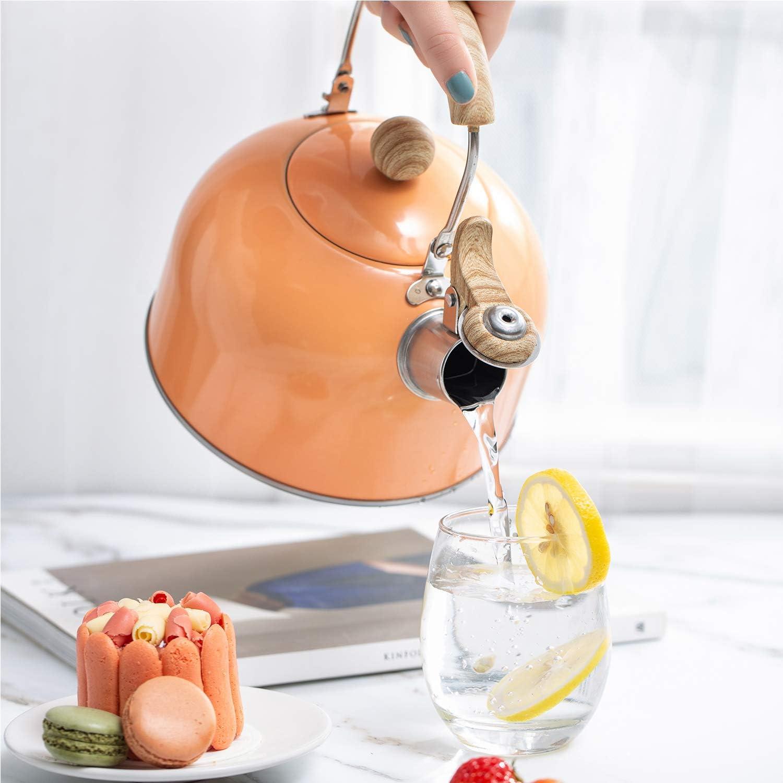 2.43-Quart ROCKURWOK Tea Kettle Stainless Steel Orange Stovetop Whistling Teapot