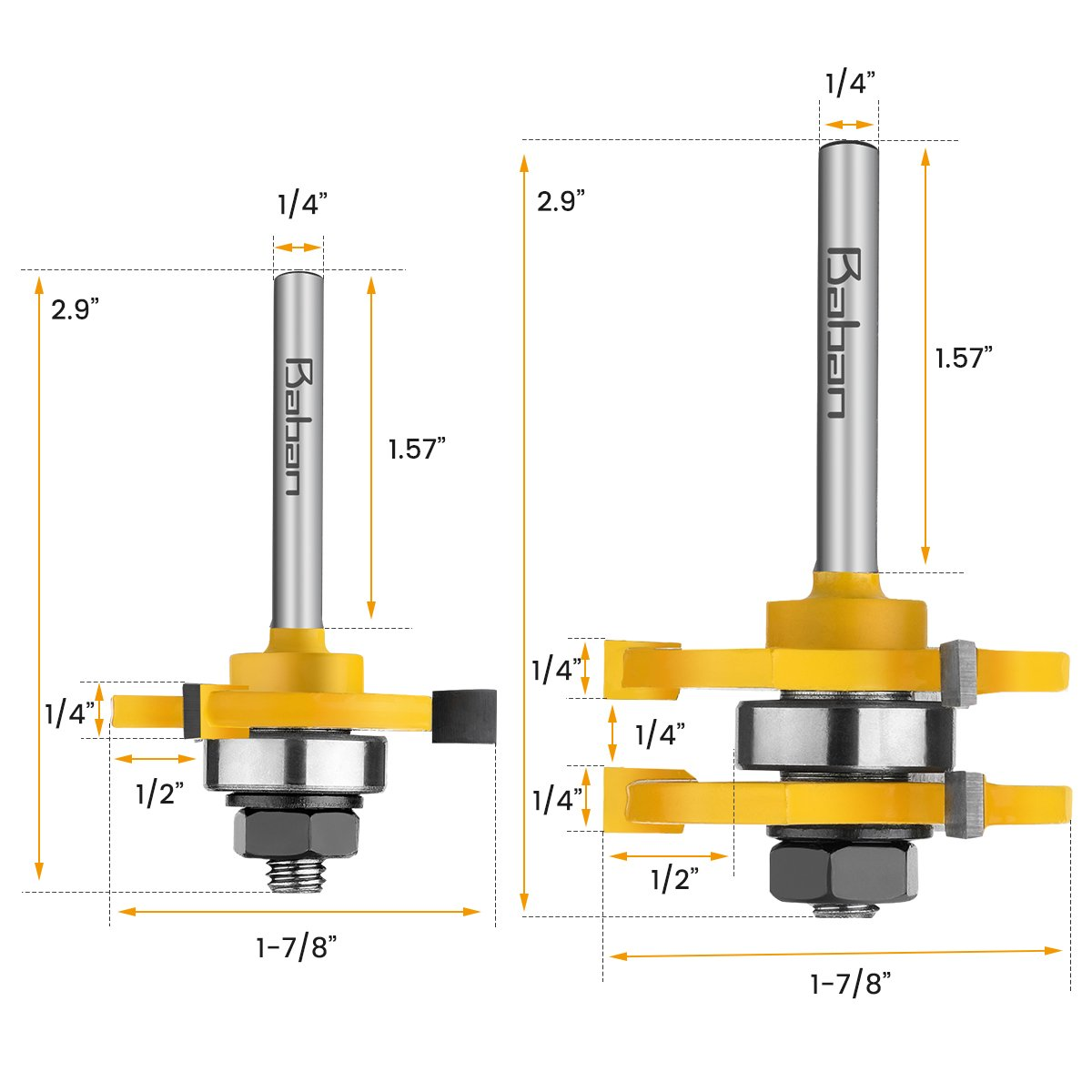 Router Bits, Baban 1/4'' Shank Tongue and Groove Router Bit Set Wood Door Flooring 3 Teeth Adjustable Routers for Woodworking Milling Cutter Tool For Router Table/Base Router, Kitchen/Bathroom/Cabinets by Baban (Image #2)