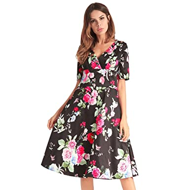 Antaina Black Floral Print Chiffon Half Sleeve V Neck Knee Length Pleated  Dress 29fb892e3