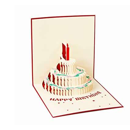 Amazon BESTOYARD Happy Birthday Cake Pop Up Greeting Cards Red Toys Games