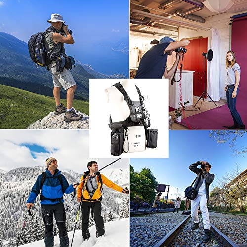 Triple Camera Harness, Micnova Carrying Chest Vest System with Side Holster for Smartphone Lens Canon Nikon Sony DV DSLR Camcorder Tripod Stand Wedding Journalism YouTube Vlog Livestream by Micnova (Image #1)