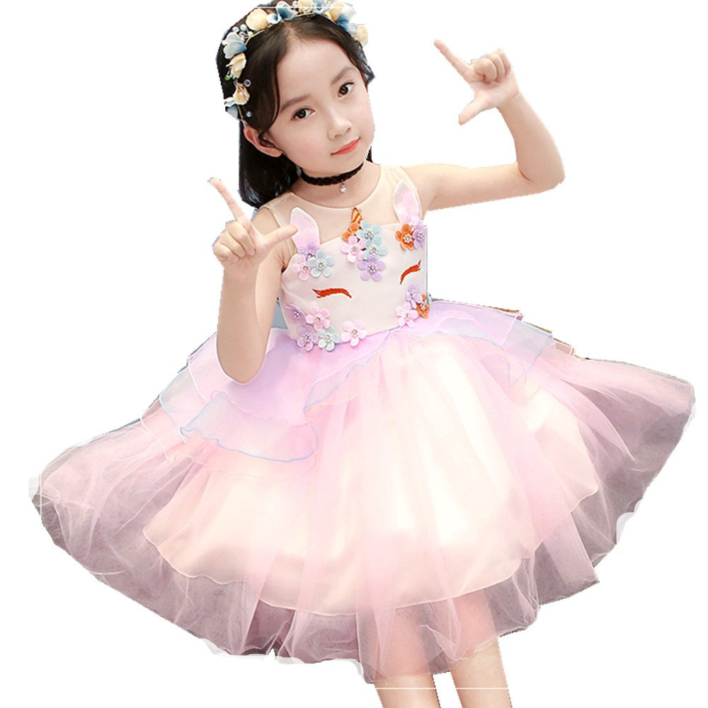 Baby Girls Beading Flower Unicorn Costume Cosplay Princess Dress up Birthday Pageant Party Dance Outfits Gowns Easter Party Cosplay Tutu Dress (150, Pink)