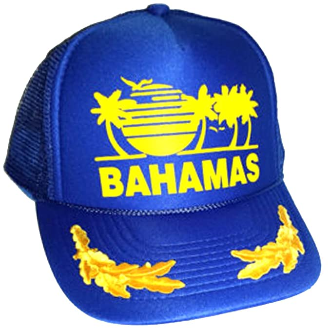 Image Unavailable. Image not available for. Color  Blue Bahamas Mesh  Trucker Hat Cap Gold Leaf Captain Snapback 3346e0f01cfd