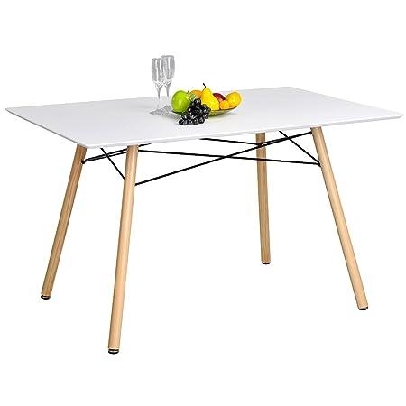 FurnitureR Mesa de Comedor Moderno Eames diseño escandinavo Blanco ...
