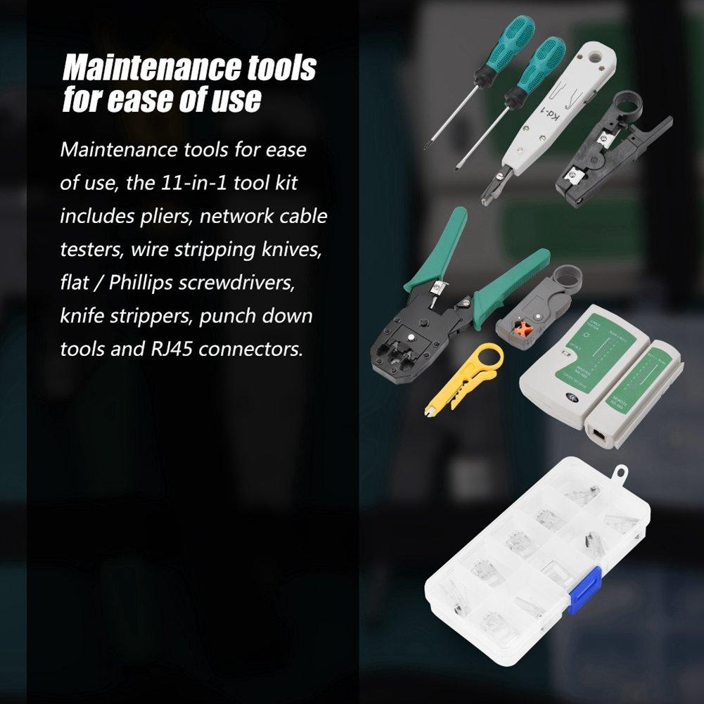 Kit de reparaci/ón de cables de mantenimiento de red 11 en 1 Reparaci/ón de LAN combinaci/ón de probador de cables para RJ11 // RJ45 // CAT5 // 5e etc. pelacables destornillador