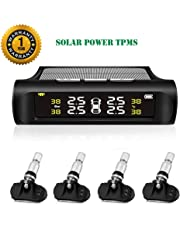 TPMS Tire Pressure Monitoring System Solar Power Universal Wireless Car Alarm System LCD Display with 4 Internal Sensors (Solar Power_Internal TPMS)