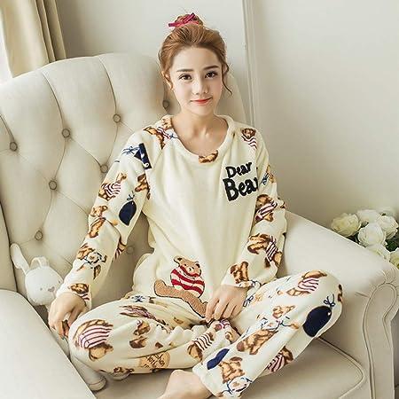 JYLW Pijamas Invierno Mujer Otoño Invierno Pijamas Mujeres ...