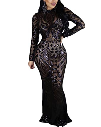 Womens Formal Long Sleeve Evening Sequin Dresses Tight Ball Gown Prom Dresses Black S