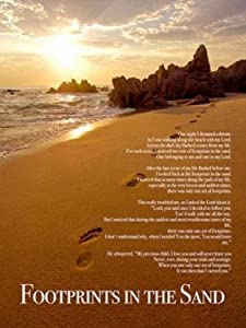 """777 Tri-Seven Entertainment FISP1 Footprints in The Sand Color Wall Poster Print Poem God Inspirational, 18"""" x 24"""""""