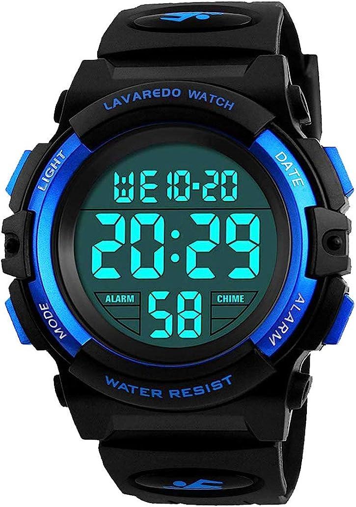Reloj Niño,Reloj Digital para Niños, Deportivos LED 5ATM Impermeable Alarma Calendario Multifunción Cronógrafo Reloj De Pulsera para Niños