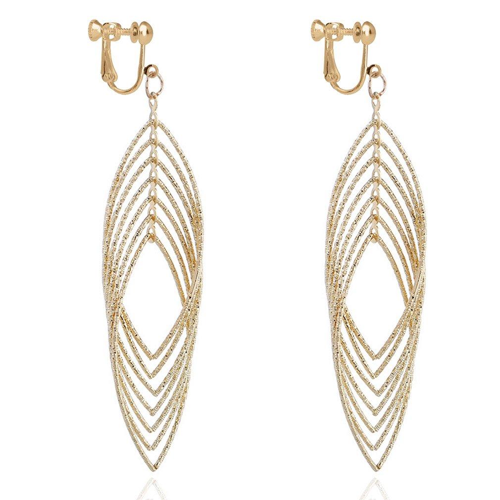 Clip on Long Dangle Earring Women Girl Fashion Jewelry Drop Diamond Cut Layered Tiered Leaf Gold Tone by Eaear