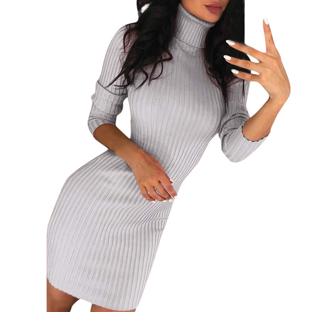 NUWFOR Womens Casual Long Sleeve Jumper Turtleneck Sweaters Dress(Gray,US:6/CN:M)