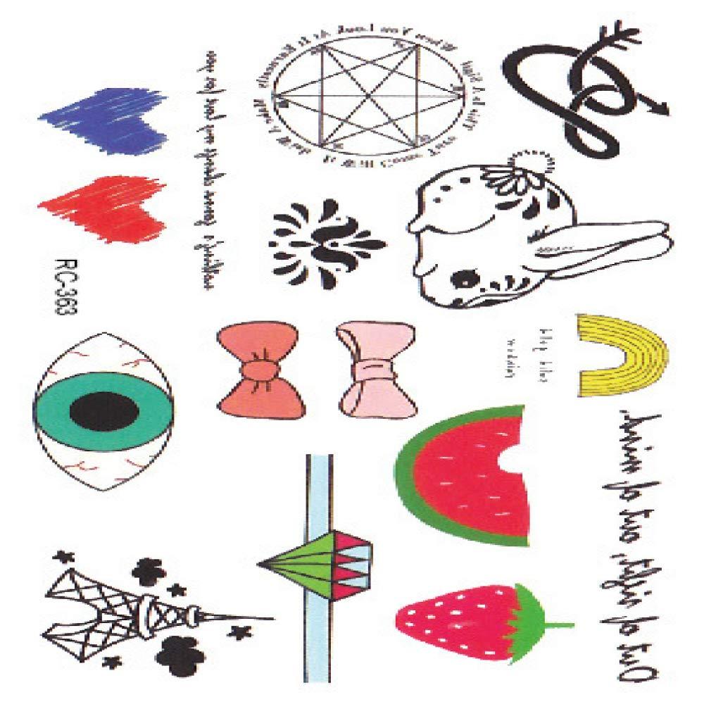 Etiqueta engomada del tatuaje pequeña pareja fresca rosa carta ...