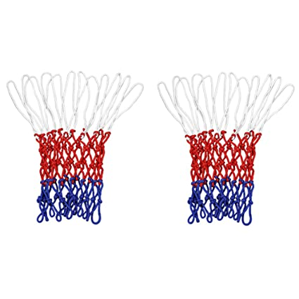 SIENOC Standard 12 hoop Basketball Net Polypropylene Durable Sports Training Rim Mesh Thread Basketball Net in Red//White//Blue