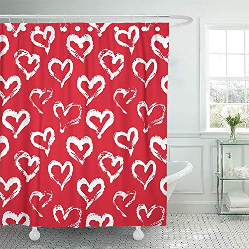 Printable Red Heart - Emvency Shower Curtain 66x72 Inch Home Postcard Decor Heart Pattern with Ink Red and White Love for Printables Baby Birthday Handdrawn Shower Hook Set are Included