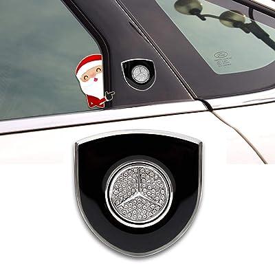 """JYMAOYI For BENZ Emblem, 2PCS Car Decal 3D Mercedes Benz Logo Badge Crystal 2.16\""""X2.16\"""" Shield Sticker Zine Alloy for All Benz C-Class E-class A-class B-class etc: Automotive [5Bkhe0416420]"""