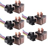 ESUPPORT Car Automotive Universal Transparent Relay 12V 60A SPDT 5Pin Switch Wire Socket Plug Pack of 5