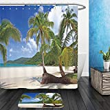 Vanfan Bathroom 2 Suits 1 Shower Curtains & 1 Floor Mats palms tree grove on the tropical beach far island sea water blue sky background 40787044 From Bath room