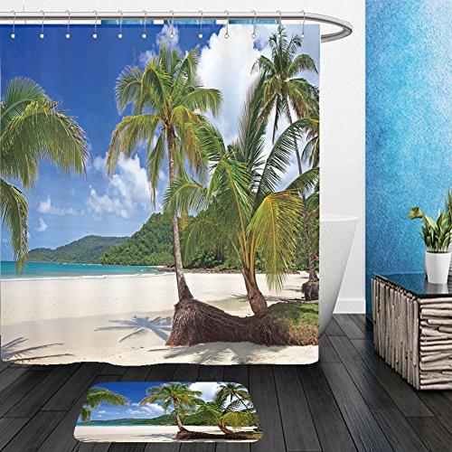 Vanfan Bathroom 2 Suits 1 Shower Curtains   1 Floor Mats Palms Tree Grove On The Tropical Beach Far Island Sea Water Blue Sky Background 40787044 From Bath Room