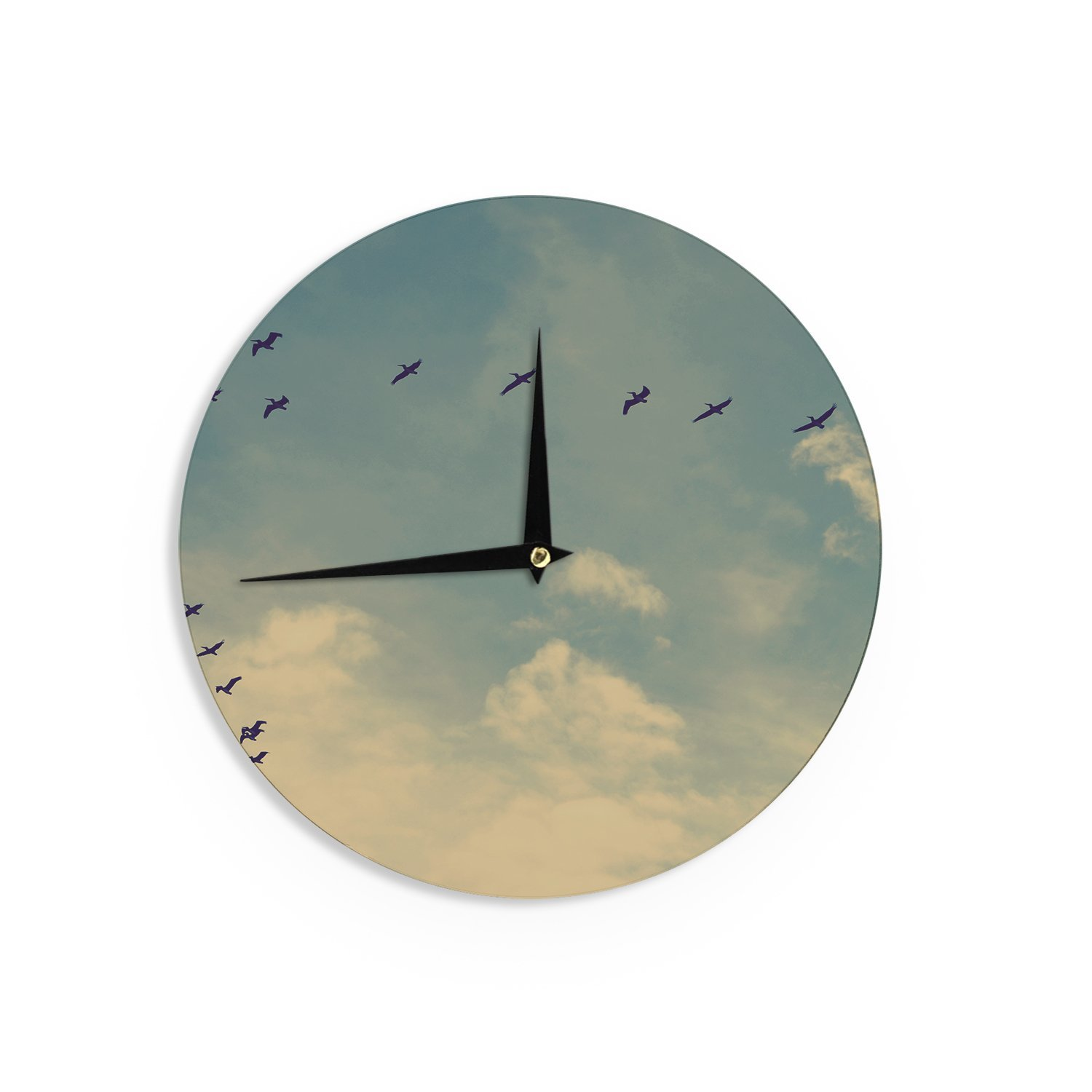 Kess InHouse Robin Dickinson Pterodactyls Blue Tan Wall Clock 12-Inch