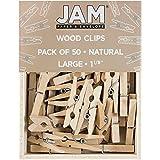 JAM Paper Wood Clothing Pin Clips - Medium - 1 1/8' - Natural - 50/pack