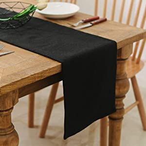NATUS WEAVER 2 Piece Fabric in 1,Dinning Table Runner 12 x 108 Inches Farmhouse Kitchen Coffee Burlap Table Runner for Holiday Party, Black