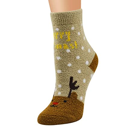 Gusspower Medias Calcetines de Terciopelo de Coral Navidad Calcetines térmicos Adulto Unisex Calcetines Lindos (G