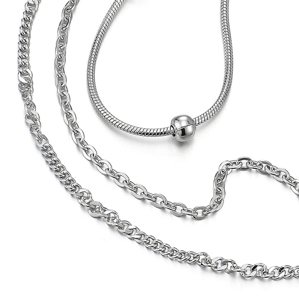 COOLSTEELANDBEYOND Acier Inoxydable Trois Rang/ées Femme Bracelets de Cheville avec Croix et Perle Charms