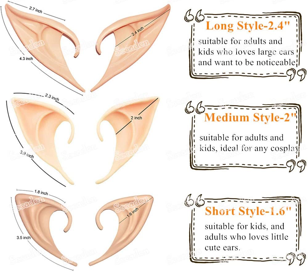 Secaden 3 Styles Elf Ears Cosplay Fairy Pixie Ears Soft Pointed Elven Ear Anime Party Dress Up Costume Accessories