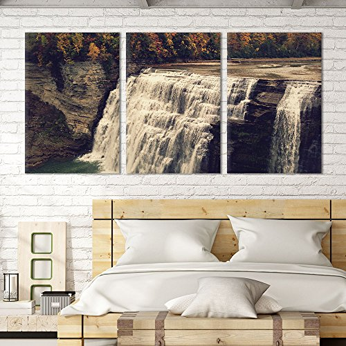 3 Panel Landscape Waterfall on the Cliff in Mountains x 3 Panels