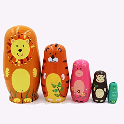 enjoy live 5 Piece Set of Wooden Handmade Cute Animal Theme Nesting Stacking Doll, Russian Doll Toy , Children's Gift Toy Party Decoration: Toys & Games