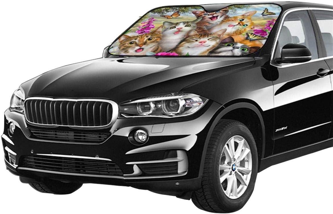 Blocks Uv Rays Sun Visor Protector,Keeps Your Vehicle Cool YiiHaanBuy Cute Cat Selfie Car Windshield Sun Shade