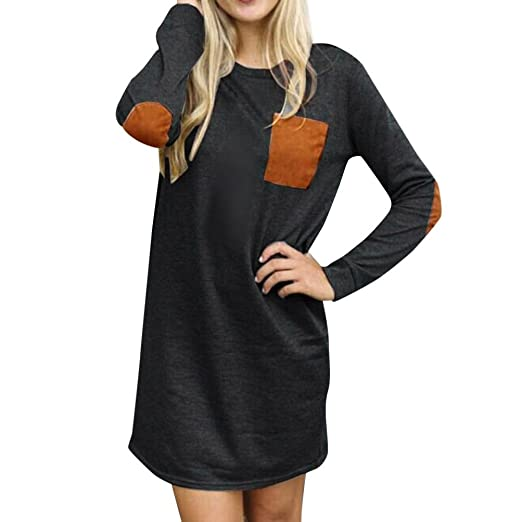 07f1091ed18 Taore Womens Long Sleeve Casual Loose Elbow Patch Short Mini Dress Cardigan  Sweater at Amazon Women s Clothing store