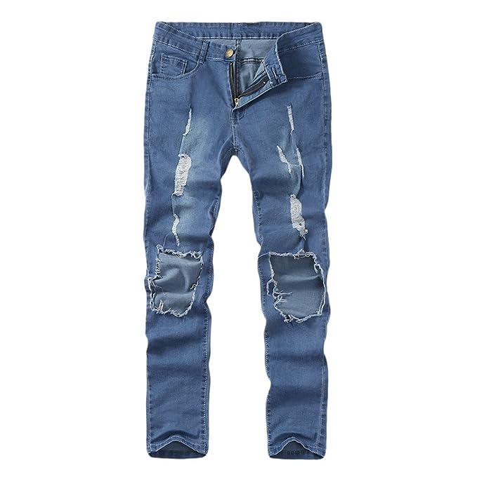 SALLYDREAM Pantalones Vaqueros Hombre Rotos, Skinny Slim Fit Insignia Largos de Mezclilla de Cintura Baja de Pitillo Deportivos Elástico Cremallera ...