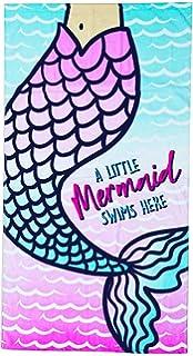 """Kreative Kids Girls Pink Mermaid Seashell Poncho Hooded Bath Beach Towel 24/""""x48/"""""""